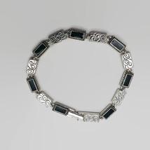 Napier Silver Tone Black Enamel Bracelet - $7.57