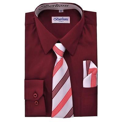 BERLIONI ITALY TODDLERS KIDS BOYS LONG SLEEVE DRESS SHIRT TIE & HANKY BURGUNDY