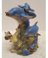 Glass dolphin figurines ceramic unbranded 6.5 inches tall  - $9.89