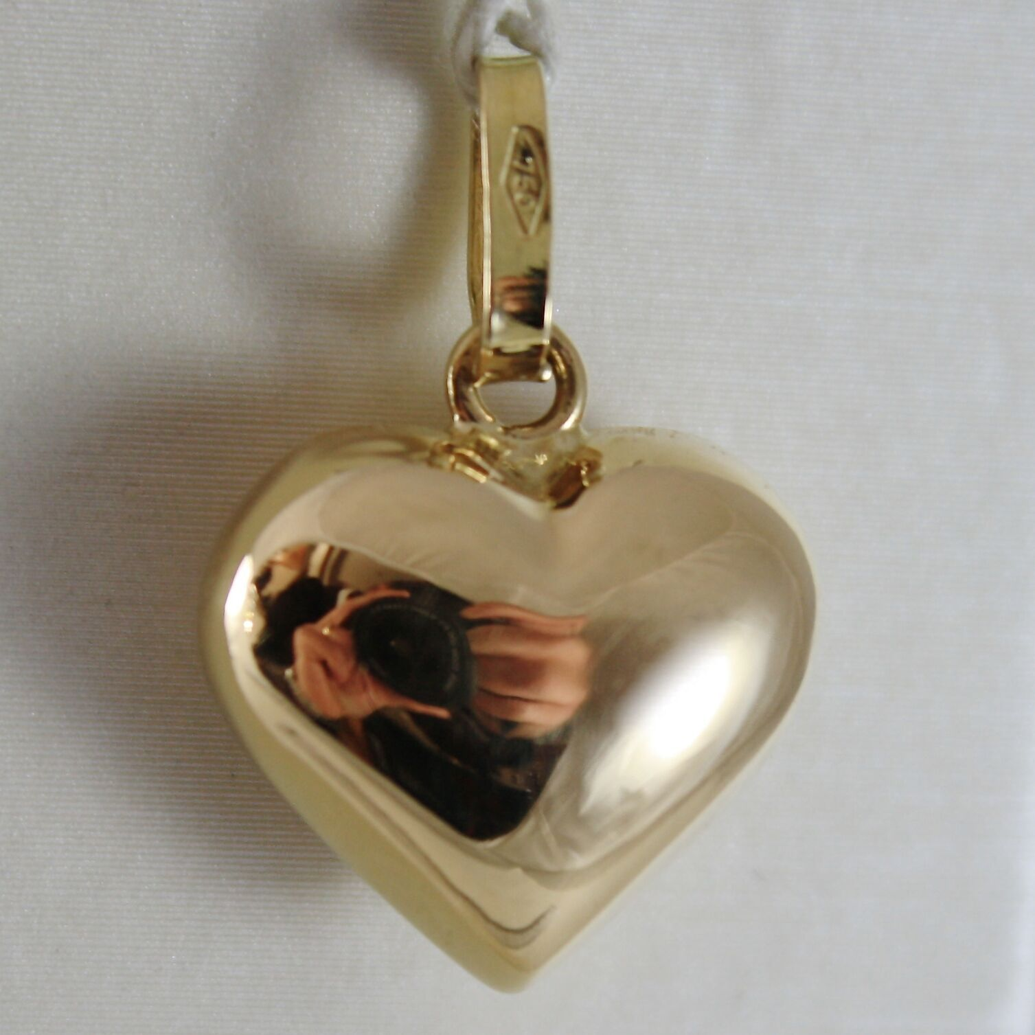 18K YELLOW GOLD ROUNDED MINI HEART CHARM PENDANT SHINY 0.79 INCHES MADE IN ITALY
