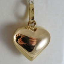 18K YELLOW GOLD ROUNDED MINI HEART CHARM PENDANT SHINY 0.79 INCHES MADE IN ITALY image 1