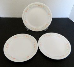 Corelle Salad Luncheon Plates Peach Garland Pattern Lot of Three Peach &... - $14.73