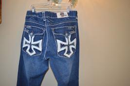 Laguna Beach Leather Cross Pocket Blue Jewels Crystal Rhinestones Stitch... - $48.02