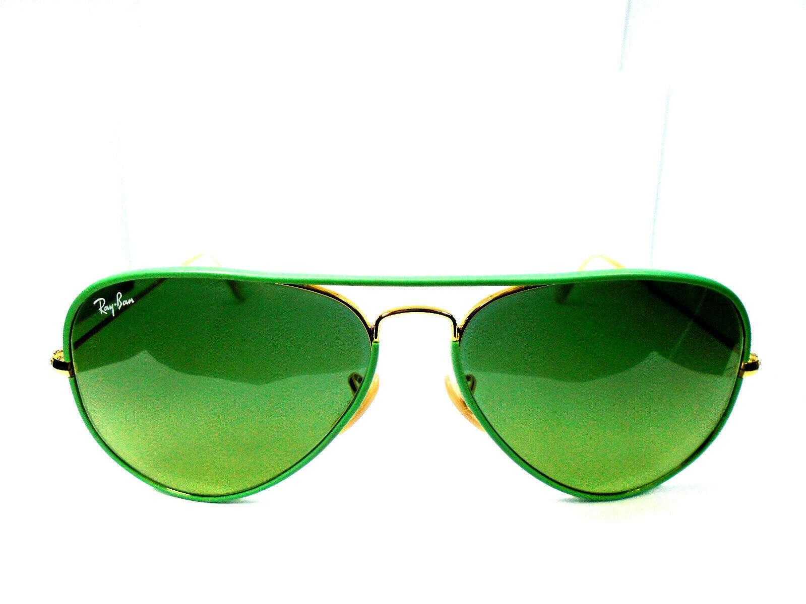 Ray-Ban RB 3025-J-M Aviator Full Color 001/3M Green/Gold 58-14 Sunglasses - $79.99