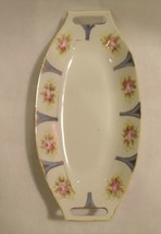 Nippon Hand painted Oblong Porcelain Dish Rose Pink Blue - $19.79