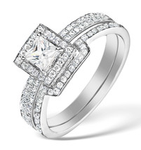 Princess Cut White CZ 10k White Gold Fn 925 Silver Engagement & Wedding Ring Set - $77.99