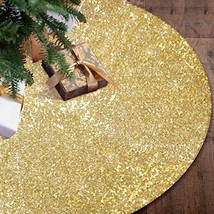 "Gold Christmas Tree Skirt,48"" Sequin Double Layers Tree Mat Xmas Tree De... - $19.14"