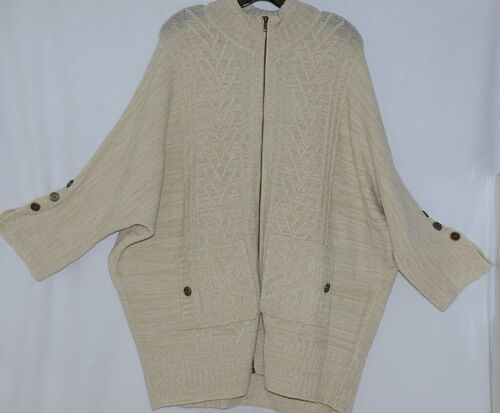 Simply Noelle Brand JCKT222Z Womens Pearl Zippered Sweater Jacket Size XXL