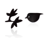 5 pairs of Black Birds And Fowers Earring Stud (Nged139D)