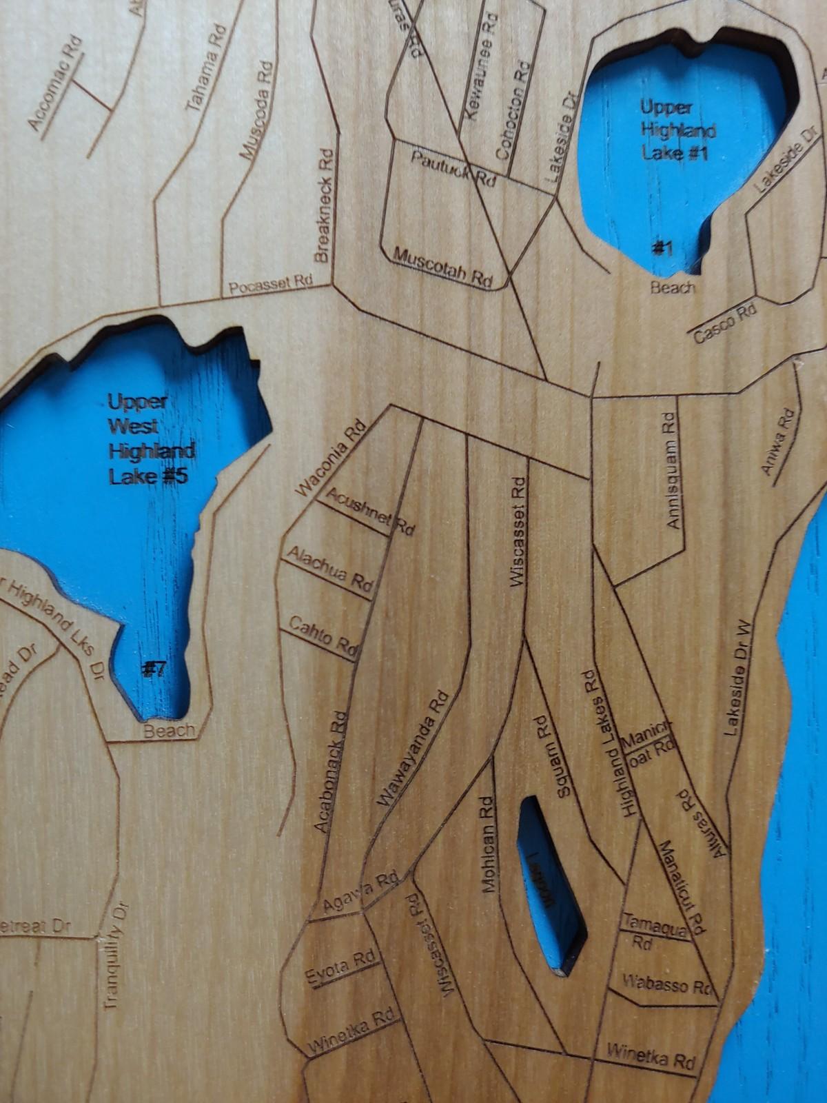 highland lakes nj map Wood Laser Cut Map Of Highland Lakes Nj And 19 Similar Items highland lakes nj map