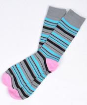 Bari Menswear Gray Blue Colorful Stripe Dress Socks - $18 Retail - Brand... - $6.29