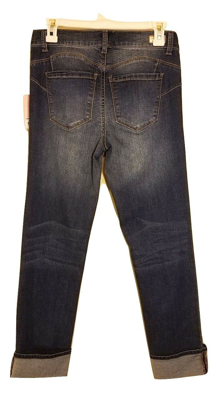 Nwt Juicy Couture Rolle Manschette Denim Röhrenjeans - Dunkle Waschung - Us 4 image 2