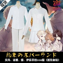 The Promised Neverland Emma Norman Ray White Skirt Shirt Uniform Cosplay... - $39.99