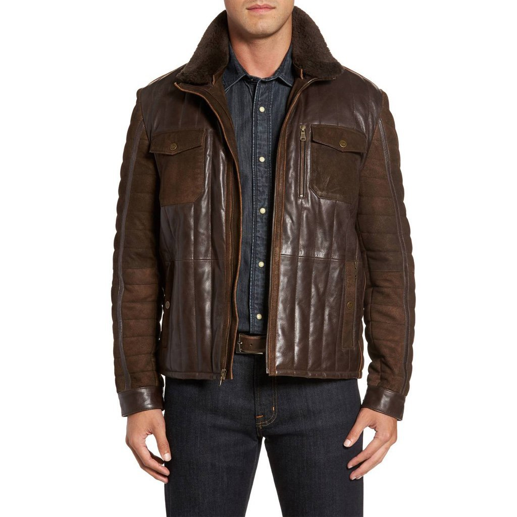 TRIM MEN LEATHER MILITARY  BOMBER JACKET