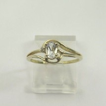 10k Yellow Gold Aquamarine March Women's Birthstone With Diamond Ring - $92.57