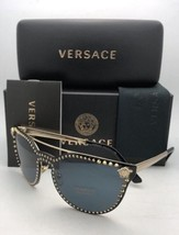 New VERSACE Sunglasses VE 2177 1252/87 140 Pale Gold Shield with Studs+Grey Lens