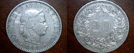 1884 Swiss 20 Rappen World Coin - Switzerland - $8.99