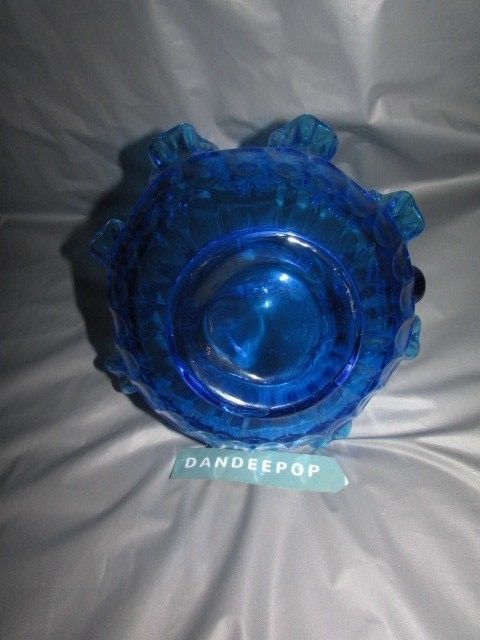 Blue Fenton Art Glass EAPG Ruffle Top Basket Shape Candy Bowl Dish 8""