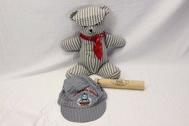Handmade Train Conductor Teddy Bear  Wooden Whistle Tomy Train Cap - $48.51
