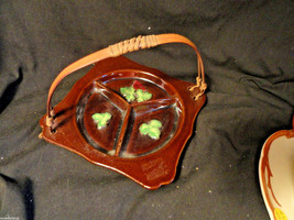 Brown Occupied Japan Porcelain Divided Relish Dish with Split Wood handle - $7.99
