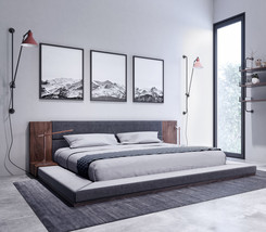 Nova Domus Jagger Modern Dark Grey & Walnut Bed - $999.00+