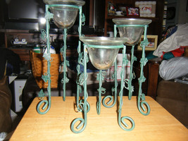 Set of 3 Green Metal Ivy Trim in Graduated Heights Votive Candle Holders - $21.77