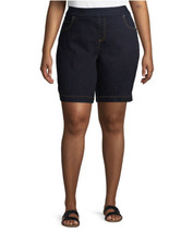 Terra And Sky Women's Dark Wash Blue Pull On Stretchy Denim Shorts Sz 5X... - $20.78