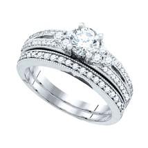 14k White Gold Round Diamond Milgrain Bridal Wedding Engagement Ring Set 1/2 Ctw - $2,315.98