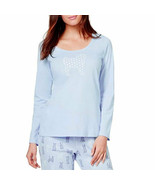 New XS CHARTER CLUB Soft Cotton Dot Pug Graphic T-Shirt Long Sleeve Wome... - $8.99