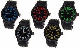 Montres Carlo Big Face Sports Rubber Band Watch Water Resistant Seiko Instrument - $16.99