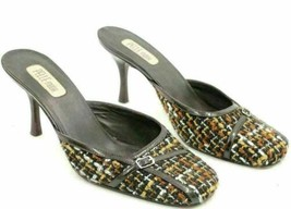 Pelle Moda Women Stiletto Mule Heels Size US 8M Brown Woven - $18.00