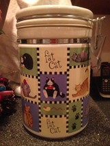 Nantucket Ceramic Patchwork Fat Cat Cookie Jar Container Candy Jar Vacuu... - $49.99