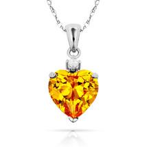 3.07Ct White Sapphire & Heart Citrine Charm Pendant14K White Gold w/Chain - $68.88+