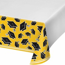 Yellow Black 54 x 102 Border Print Tablecover Graduation School Spirit - $7.99