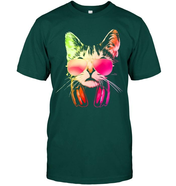 Neon DJ Cat With Sunglasses And Headphones T Shirt