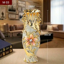 Gold Color Porcelain Vase Vintage Ceramic Flower Pot for Room Study Home... - $38.57+