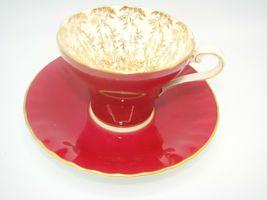 Aynsley Bone China Maroon Gold Floral Interior Corset Waist Tea Cup Saucer 1950 image 7