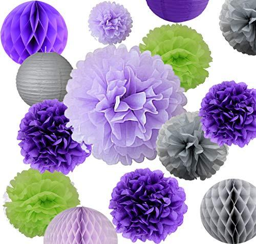 AVAbay 18pcs Party Hanging Tissue Paper Decoration Set for Birthday-Purple Shade