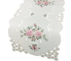 Xia Home Fashions Bloom Embroidered Cutwork Floral Table Runner, 16 by 3... - $22.10