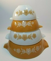 Pyrex Butterfly Gold Cinderella Spout Handle Mixing Nesting Bowls Compl... - $44.50