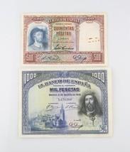 Spain Peseta Notes (Lot of 2) 1931 500 Peseta VG+ P#84 1928 1000 Peseta ... - $79.20