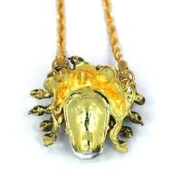 "Han Cholo Silver Gold Plated Medusa Skull Pendant with 26"" Rope Chain NEW image 5"