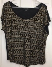 Forever 21 Rayon Top Silky Very Short Sleeves Black Gold Geometric Print... - $8.86