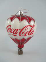 Coca-Cola Kurt Adler Glass Hot Air Balloon with Logo Holiday Christmas O... - $18.81