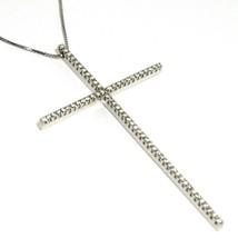 Collar Oro Blanco 750 18Ct, Cruz Grande 6.3 cm, Diamantes 0.65 , Cadena - $2,968.96