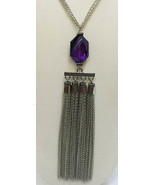 Necklace Purple Glass Stone Pendant Tassel Silver Tone Metal Chains Mult... - $12.86