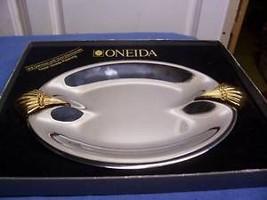 ONEIDA 18/8 STAINLESS W GOLD MIB OVAL PLATTER 9... - $14.86