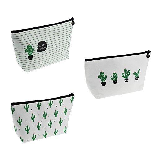 LJY 3 Pieces Assorted Large Capacity Pen Holders Pastoral Floral Cactus Design M