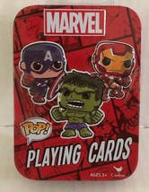 Cards MARVEL POP Playing Game Deck Tin Hulk Iron Man, Captain America & ... - $8.18