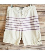 Tommy Hilfiger Mens Striped Board Shorts Embroidered Flag Size L EUC - £14.66 GBP